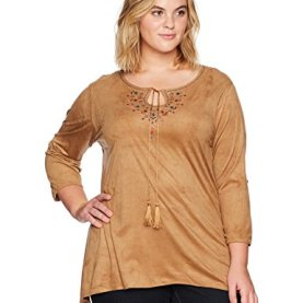 Embroidered Stretch Suede Tunic Top