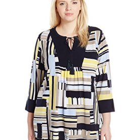 allover Stripe 3/4 Slv Tunic