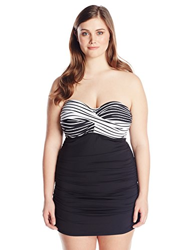 Color Block Simple Stripe Swim Dress