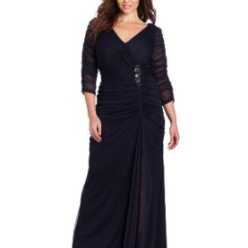 3/4 Sleeve Rouched Gown