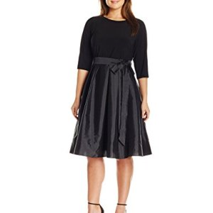 Long Sleeve Taffeta Two-Fer Dress