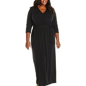 3/4 Sleeve Wrap Front Maxi Dress