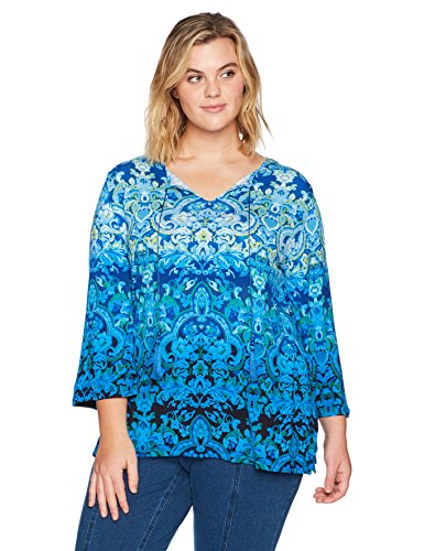 Plus Size Border Printed Knit Top