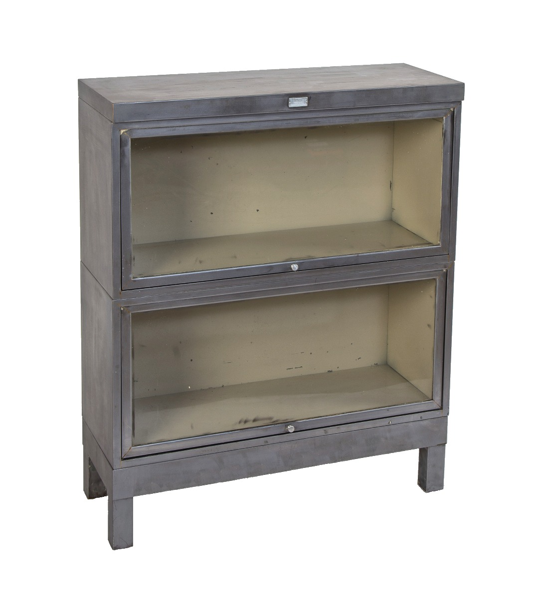 Hard To Find Vintage American Industrial Salvaged Chicago Office Building Freestanding Brushed Metal Barrister Bookcase