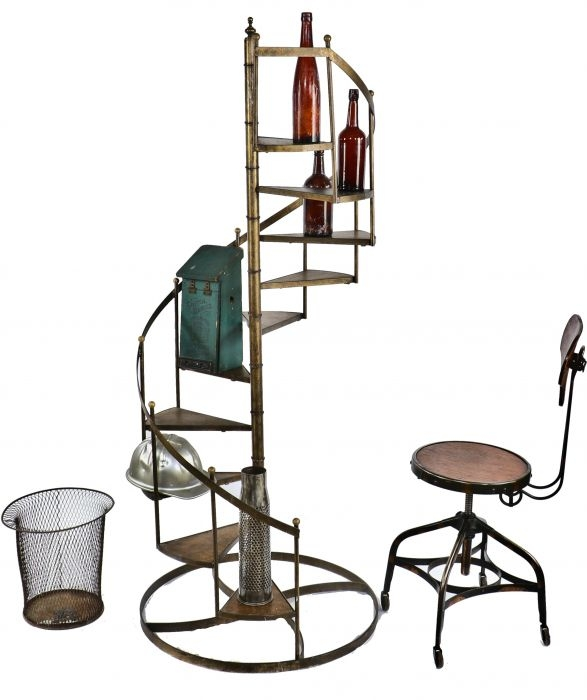 Very Unusual Lightweight Vintage American Industrial Salesman | Self Supporting Spiral Staircase | Stairway | Concrete | Supporting Structure | Santa Fe | London Uk