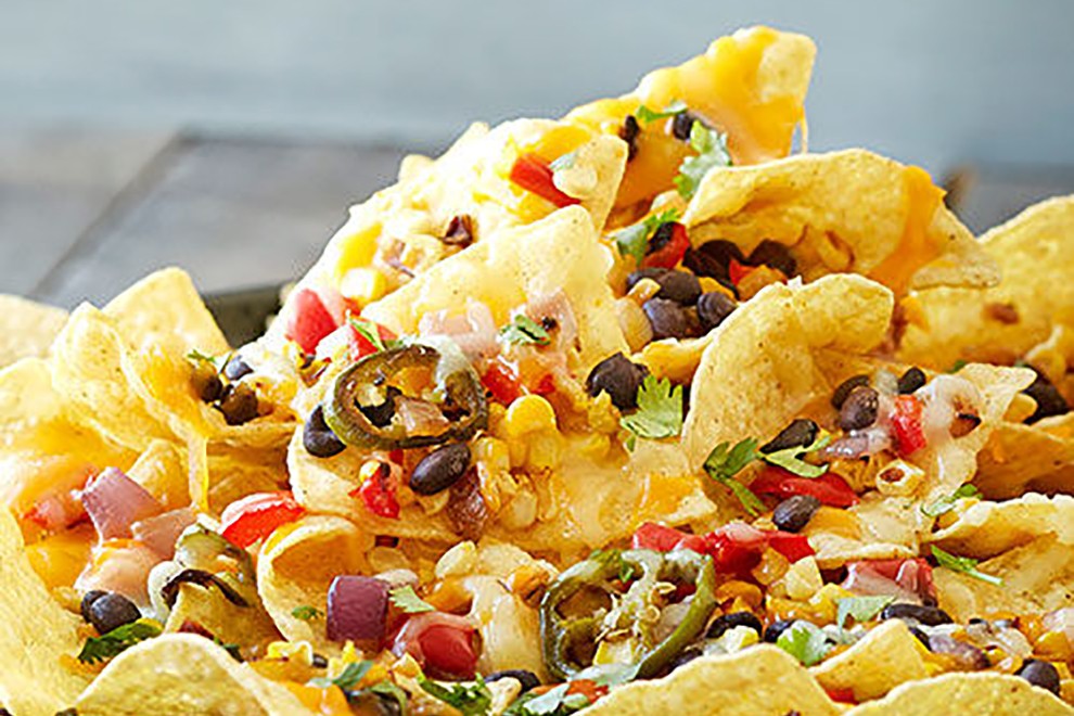 BBQ'd nachos, grilled and loaded