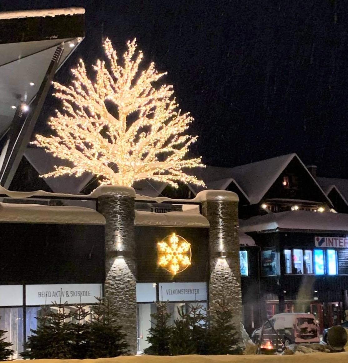 Flere lysskulpturer lyste vakkert opp i fjellandsbyen Beitostløen