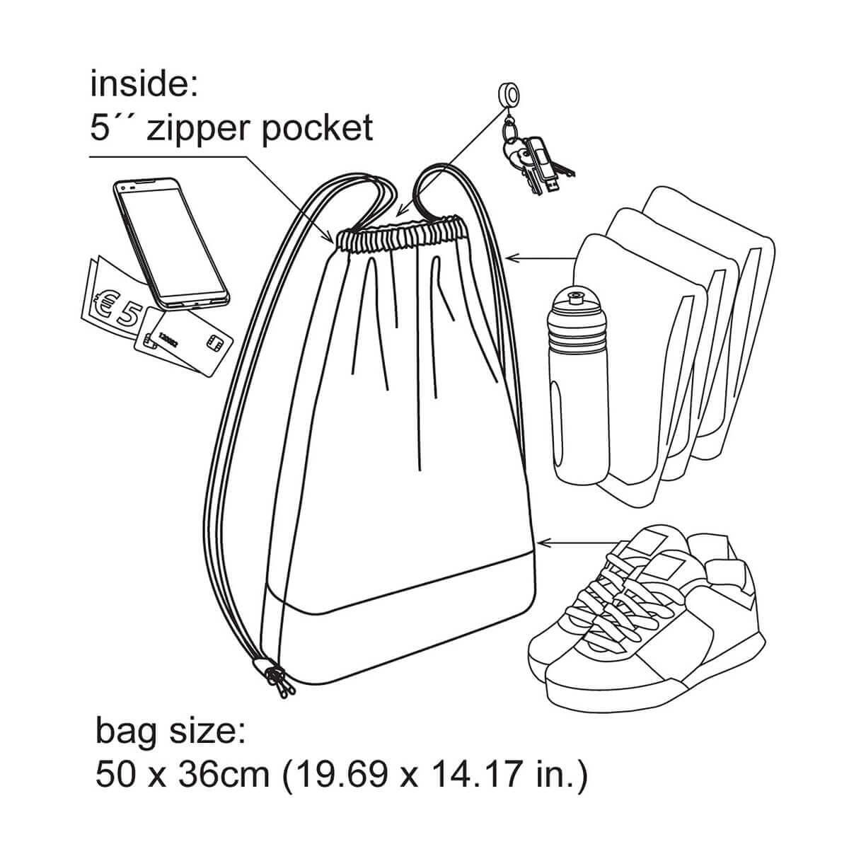 Drawstring Hipster Bag Organic Cotton With Zipper Pocket