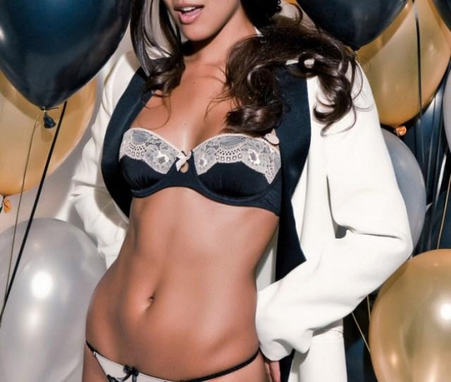 Raquel Pomplun Playboy Black White Lingerie