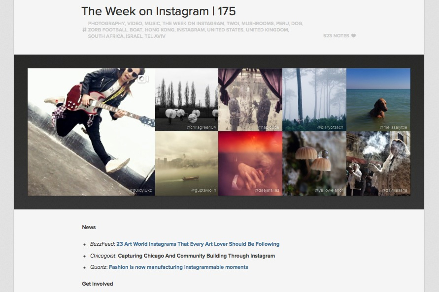 Image of my article on Chicago photographers featured in Instagram's newsletter