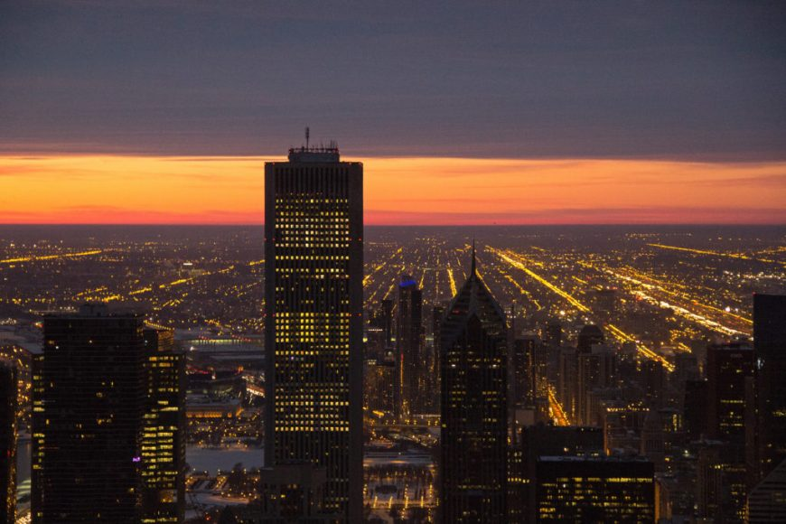 Photo of dawn breaking over Chicago