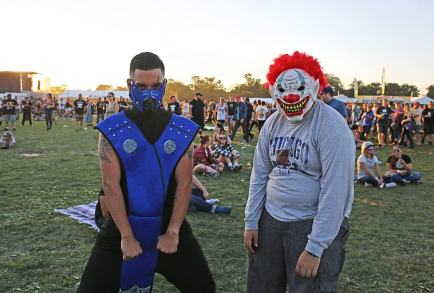 Picture of fans in clown and Mortal Kombat costumes at Riot Fest 2016