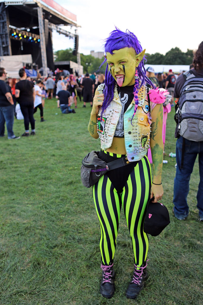 Picture of a fan in green face paint at Riot Fest Chicago 2016