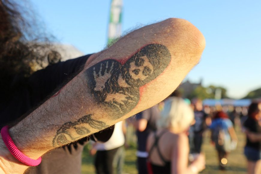 Picture of a fan's Misfits tattoo at Riot Fest 2016.