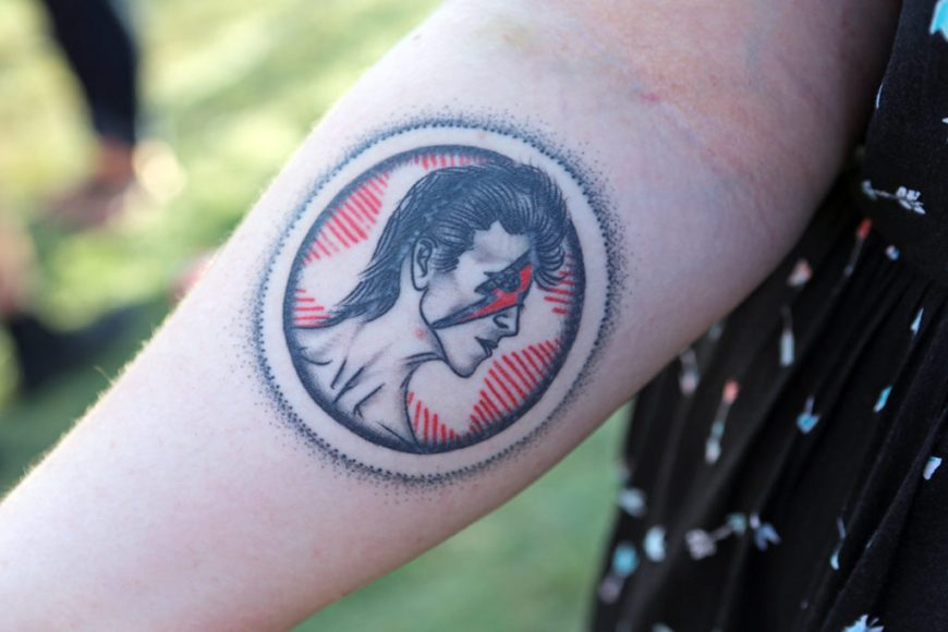 Picture of a fan's David Bowie tattoo at Riot Fest 2016.