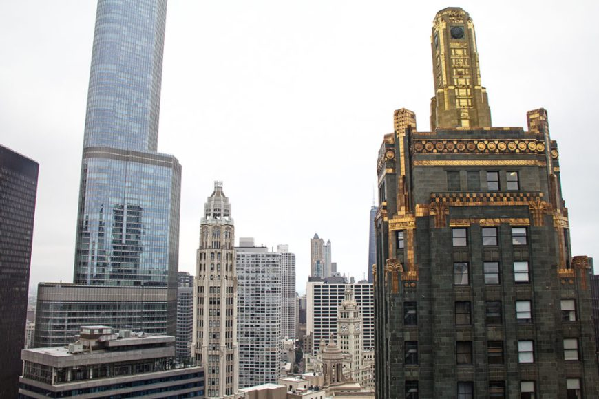 View of Chicago skyscrapers from MILA Chicago at Open House Chicago 2016