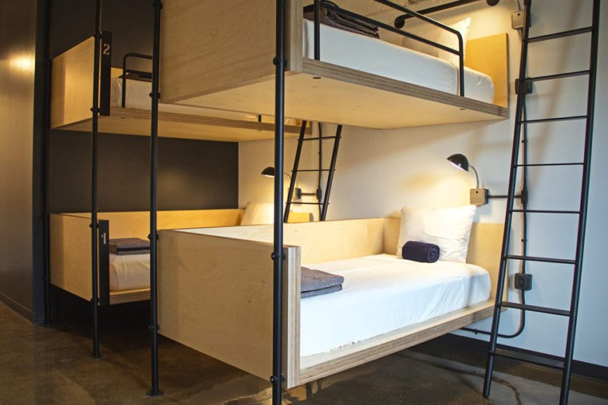 Photo of bunk beds in a guest room at the Hollander Chicago