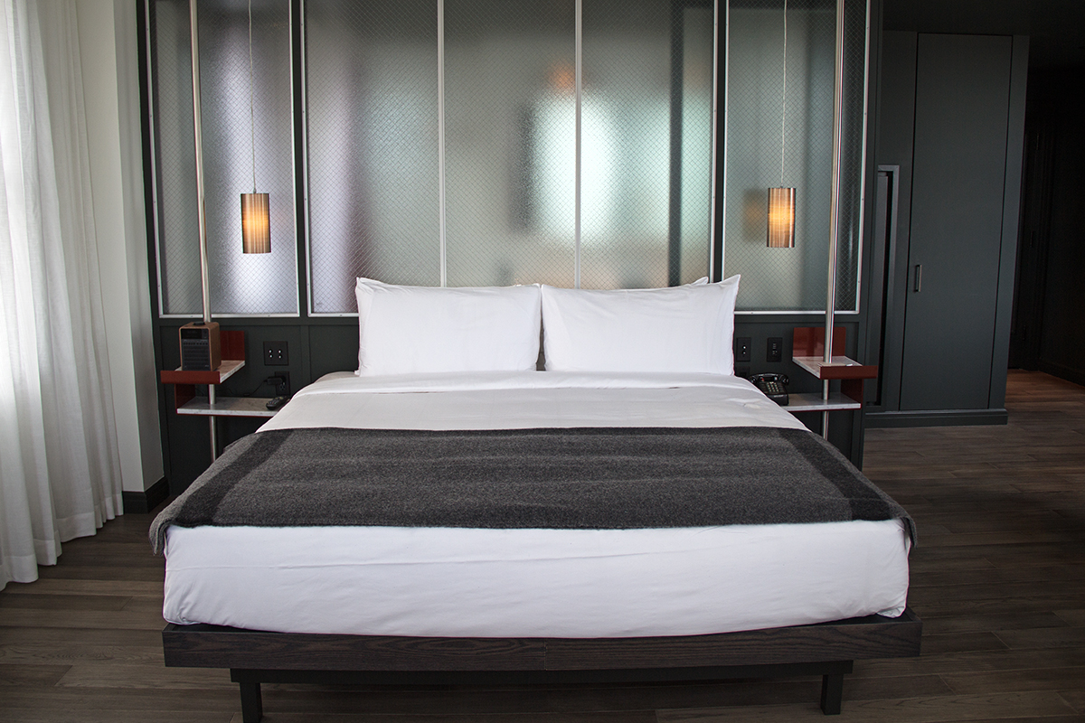 Photo of a guest room at the Robey hotel in Chicago