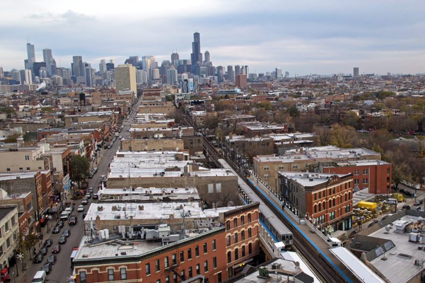 View of Wicker Park and the Chicago skyline from the Robey hotel