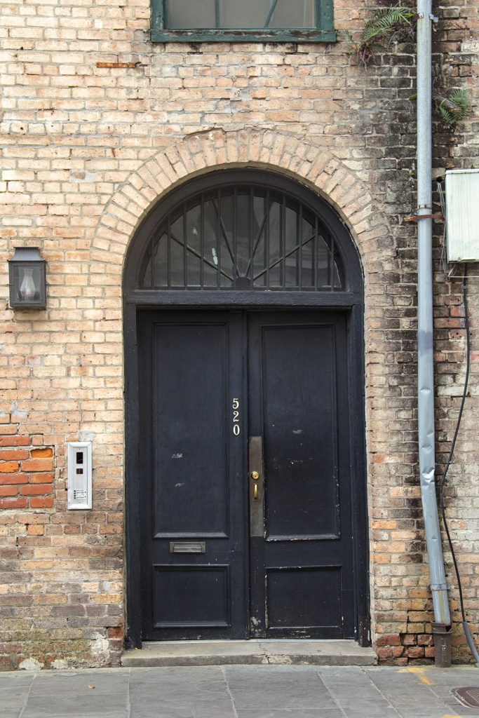 Detail photo of a doorway in the French Quarter of New Orleans
