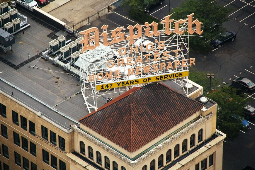 Columbus Dispatch sign from above