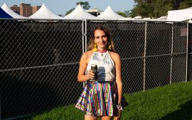 Having a beer with Sadie Dupuis of Speedy Ortiz at Riot Fest