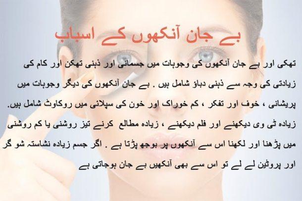 Cause of tired eyes in urdu/hindi