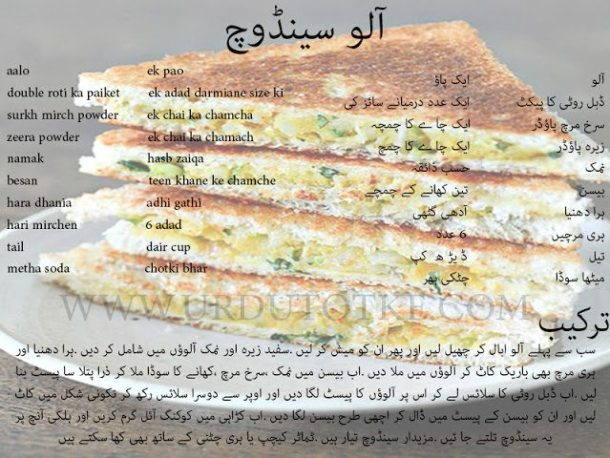 best sandwich recipes in urdu