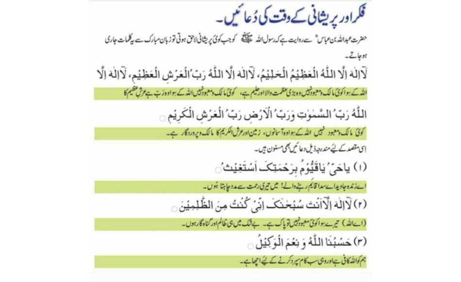 Pareshani door karne ki dua urdu islamic dua: