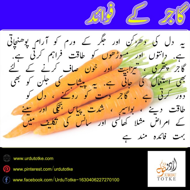 carrot benefits in urdu
