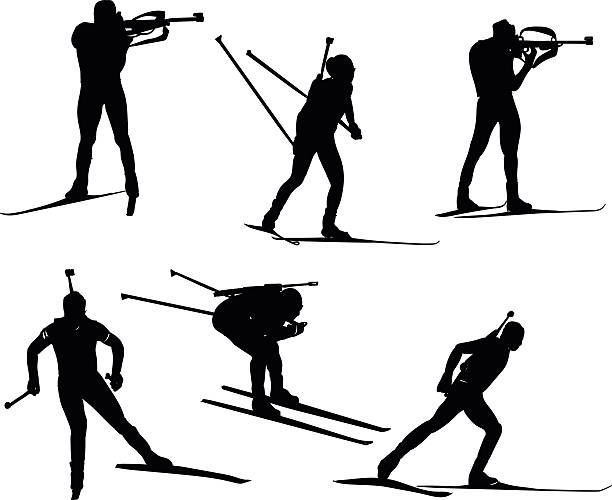 Biathlon silhouette set. Vector stock illustration for design