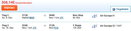 New York um € 308,- fliegen
