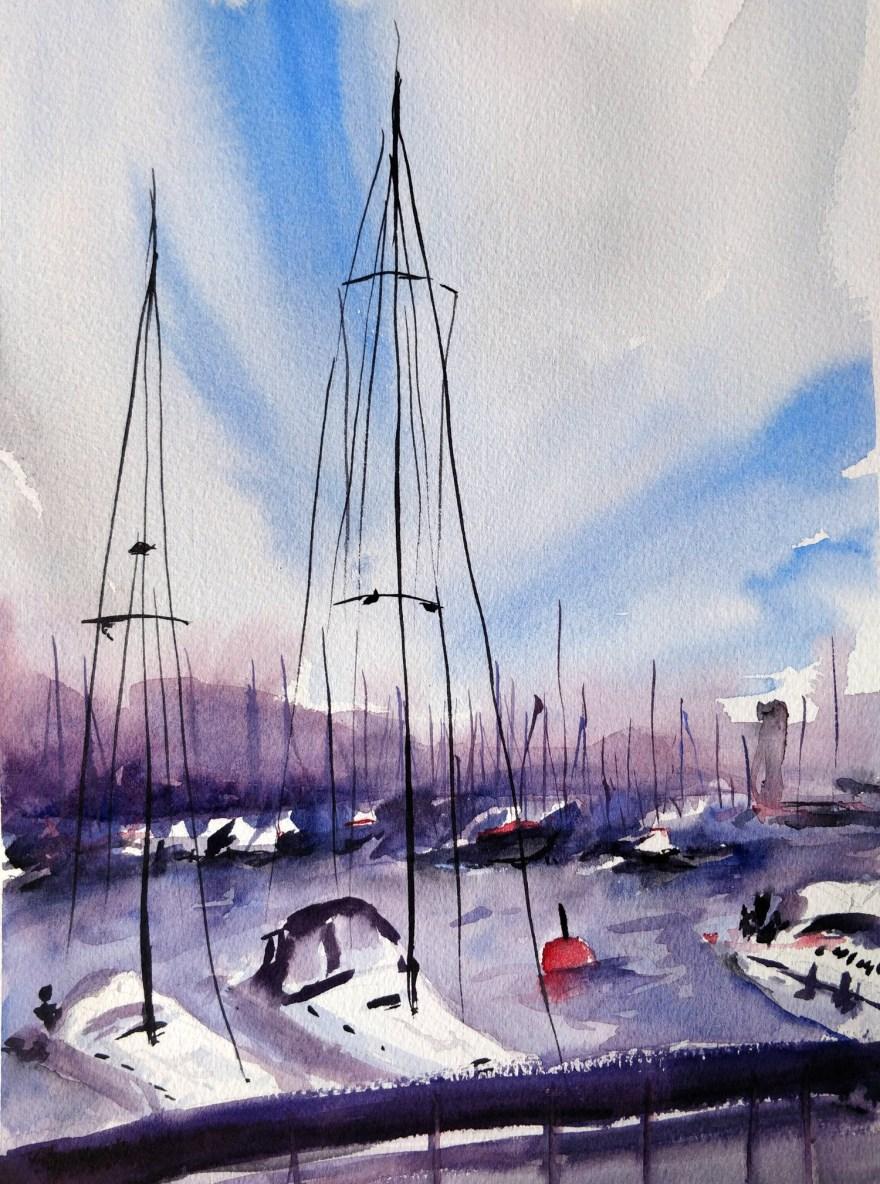 A marina in watercolor