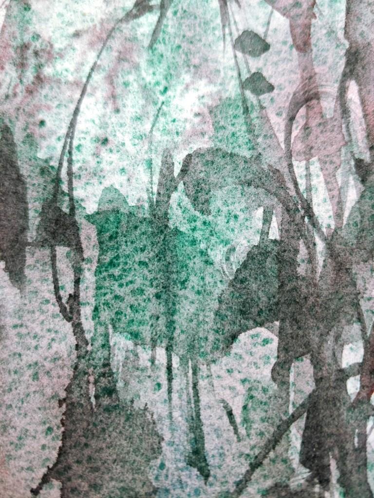 Aimer le vert émeraude, aquarelle, détail
