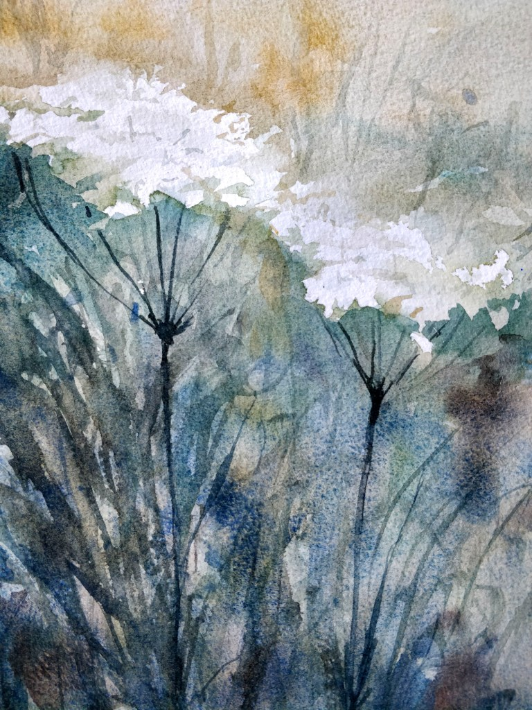 White flowers in watercolor