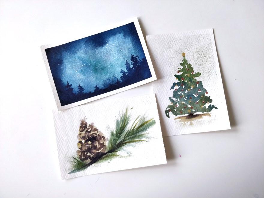 Cartes de voeux à l'aquarelle