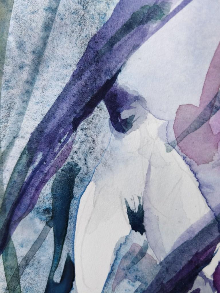 Perce-neige à l'aquarelle, détails
