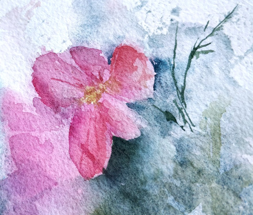 Primroses in watercolor, details