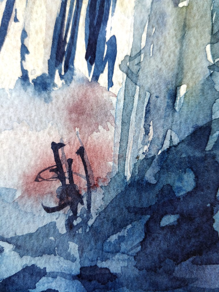 Winter forest in watercolor, detail