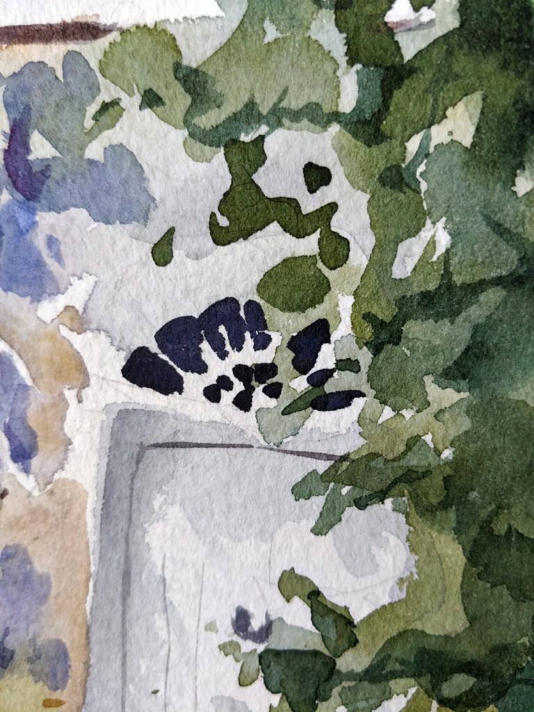 Wisteria in watercolor, detail