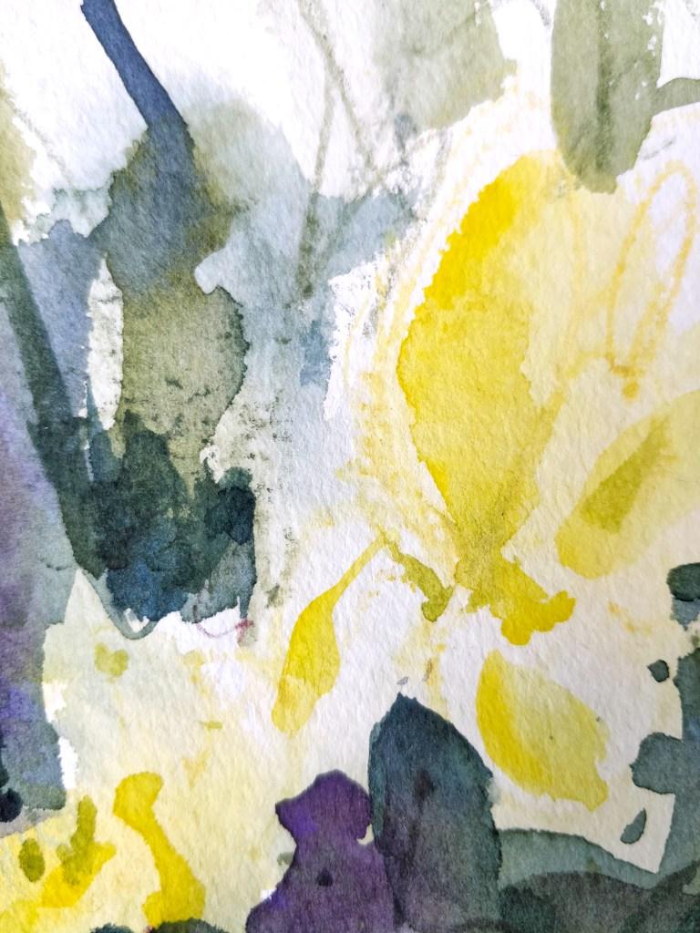 Anémones à l'aquarelle et crayons aquarellables, détail