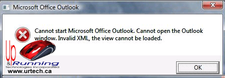 Cannot open the Outlook window. Invalid XML, the view cannot be loaded