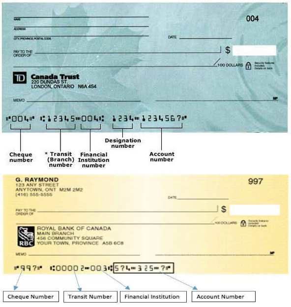 rbc-td-cheques-transit-number-bank-number-account-number-insitution-number