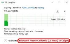 Azure data center speed test - Fresno California US West to Calgary