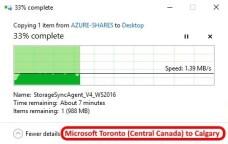 Azure data center speed test - Toronto Central Canada to Calgary