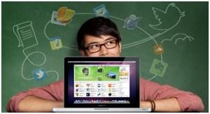 laptop child green blackboard background school