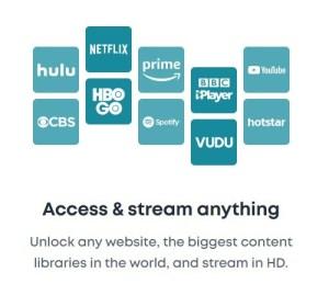 VPN opens up streaming Options CBS NETFLIX HULU VUDU HBO GO