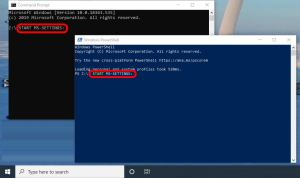 command line to start windows 10 settings from cmd or powershell