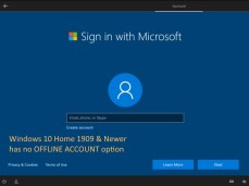 no option to setup an offline account in Windows 10