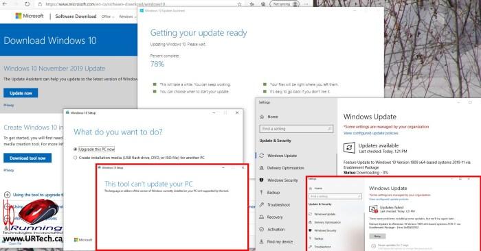 Cannot Upgrade Windows 10